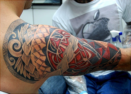 colored maori tattoo