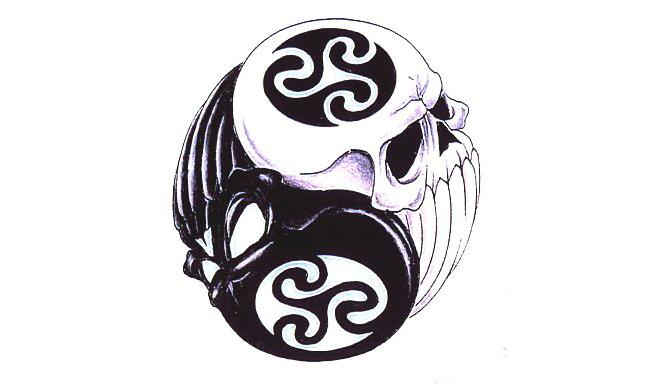 Reflections of a Ying Yang Skull Tattoo