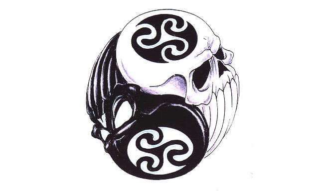 Ying Yang Skull Tattoo III